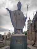 在别墅古斯塔沃Madero的教宗若望保禄二世纪念碑 免版税图库摄影