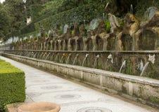 在别墅d ` Este的一百个喷泉 库存图片