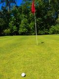 在别针附近的高尔夫球 免版税库存照片