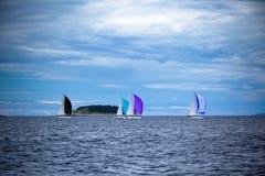 在刮风的天气的亚得里亚海乘快艇赛船会 免版税图库摄影