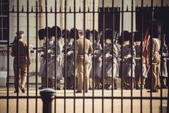 在制服的伦敦卫兵在篱芭后 库存图片