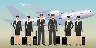 在制服的回教飞行员和空中小姐字符有站立在飞行航空器背景的袋子的 向量例证