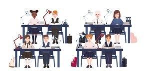 在制服的学生在书桌在被隔绝的教室坐白色背景 哀伤和微笑的小学男孩和 库存例证