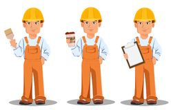 在制服的英俊的建造者 专业建筑工人 皇族释放例证