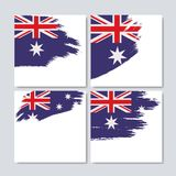 在刷子冲程的澳大利亚旗子设置了在白色背景的框架 库存例证