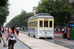 在前门街道的电车在北京的中心 免版税图库摄影