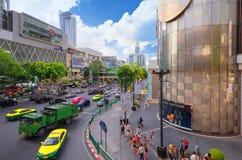 在前面中央世界的区域 曼谷市 免版税库存照片