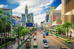 在前面中央世界的区域 曼谷市 库存照片