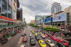 在前面中央世界的区域 曼谷市 免版税库存图片