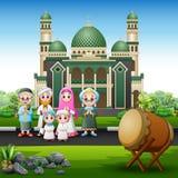 在前面的一个大回教家庭清真寺 库存例证