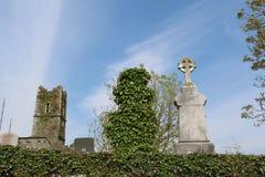 在前面的树,与一个老修道院的废墟的凯尔特十字架 免版税库存图片