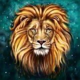 在前面的狮子头 免版税库存图片