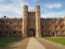 在剑桥大学圣约翰学院的第二个法院门,平克・弗洛伊德远大抱负电视节目预告的地点 库存照片