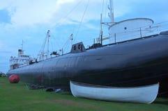 在剥皮机海岛上的Whaleback船 库存照片