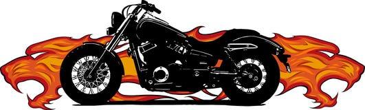 在剧烈火热的橙色火焰和火爆炸的火花吞噬的剧烈的灼烧的摩托车 库存例证
