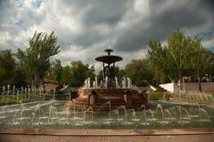 在剧院正方形的喷泉在顿河畔罗斯托夫 图库摄影