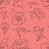 在剪影得出的花卉无缝的牡丹样式 向量例证