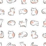 在剪影样式的猫逗人喜爱的手拉的无缝的样式 库存例证