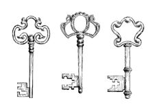 在剪影样式的老古色古香的钥匙 免版税库存照片