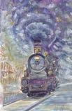 在剪影样式的老火车 库存照片