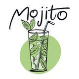 在剪影样式的鸡尾酒mojito菜单的 Mojito当代经典鸡尾酒 库存例证