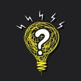 在剪影电灯泡构思设计的问号 库存照片