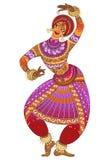 在剪影的一印地安妇女舞蹈家跳舞在白色背景 免版税库存照片