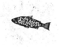 在剪影的三文鱼字法 免版税图库摄影