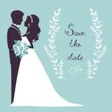 在剪影的典雅的婚礼夫妇 库存图片
