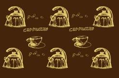 在剪影的咖啡时间 免版税库存图片