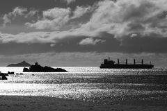 在剪影的日志运载的船在闪耀的海洋 黑色白色 免版税库存照片