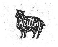 在剪影的羊肉字法 库存图片