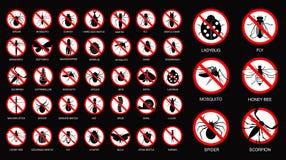 在剪影禁止的设置各种各样的昆虫,与昆虫名字 免版税库存图片