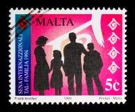 在剪影,周年和事件1994年serie的家庭,大约1994年 库存图片
