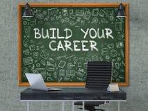 在办公室墙壁上的黑板有修造的您的事业概念 3d 免版税图库摄影