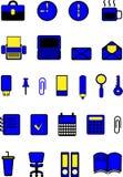 在办公室题材,颜色,黑色,蓝色,黄色,传染媒介例证的象 免版税图库摄影