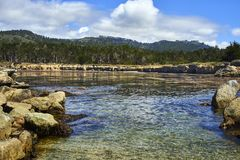 在加利福尼亚海岸的太平洋入口在蒙特里附近 库存图片