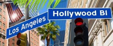 在加利福尼亚照片登上的好莱坞洛杉矶红灯的标志 库存图片