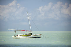 在加勒比停泊的木帆船 库存图片