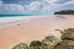 在加勒比岛起重机海滩的热带海滩,巴巴多斯 库存照片