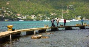 在加勒比损坏了被修理的走道由飓风harvey 免版税库存图片