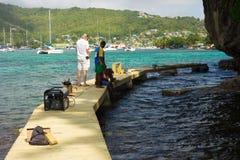 在加勒比损坏了被修理的走道由飓风harvey 库存照片