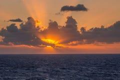 在加勒比海的日出 库存图片