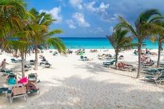 在加勒比海的Playacar海滩在墨西哥 图库摄影
