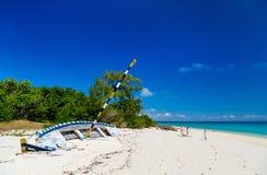 在加勒比的田园诗海滩 库存图片