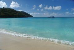 在加勒比,圣托马斯, USVI的小船 库存图片