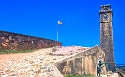 在加勒荷兰堡垒,斯里兰卡的老尖沙咀钟楼 免版税图库摄影