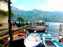 在加尔达湖的美妙的风景 库存图片