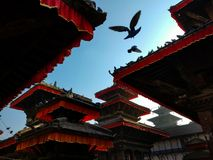 在加德满都Durbar广场的印度寺庙 免版税库存照片