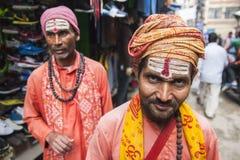 在加德满都街道上的Sadhu  免版税库存照片